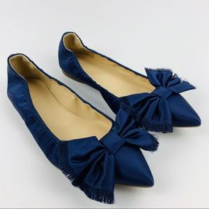 J.CREW NWT Lottie Flats Shoes With Bow Satin 6.5